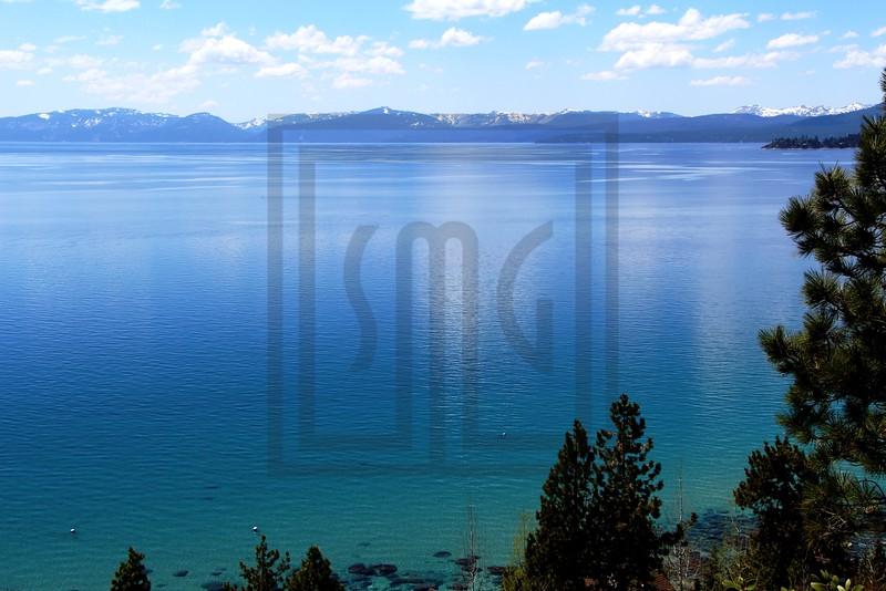 mountains, snow, water, lake, lake tahoe, trees, nevada, clouds