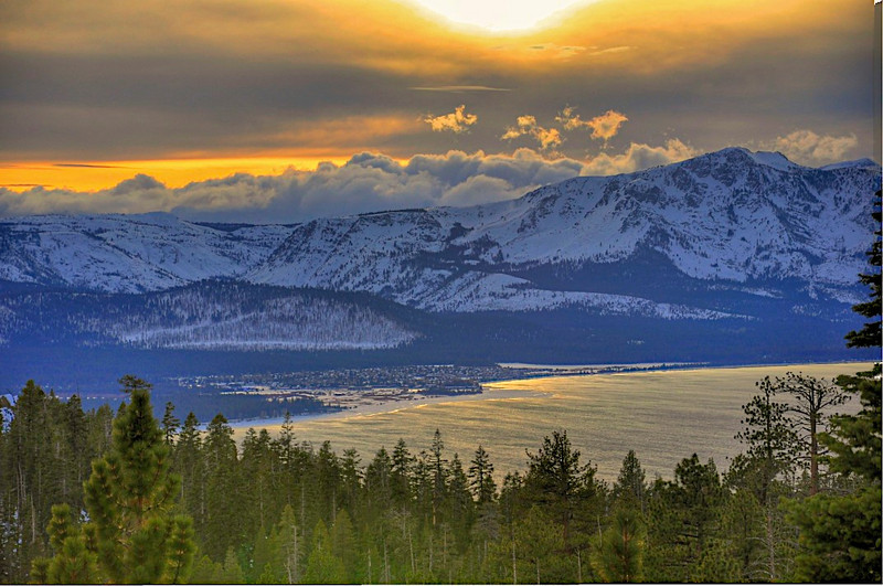 South Lake Tahoe, New Years Eve, 2009, from the Tahoe Rim Trail.