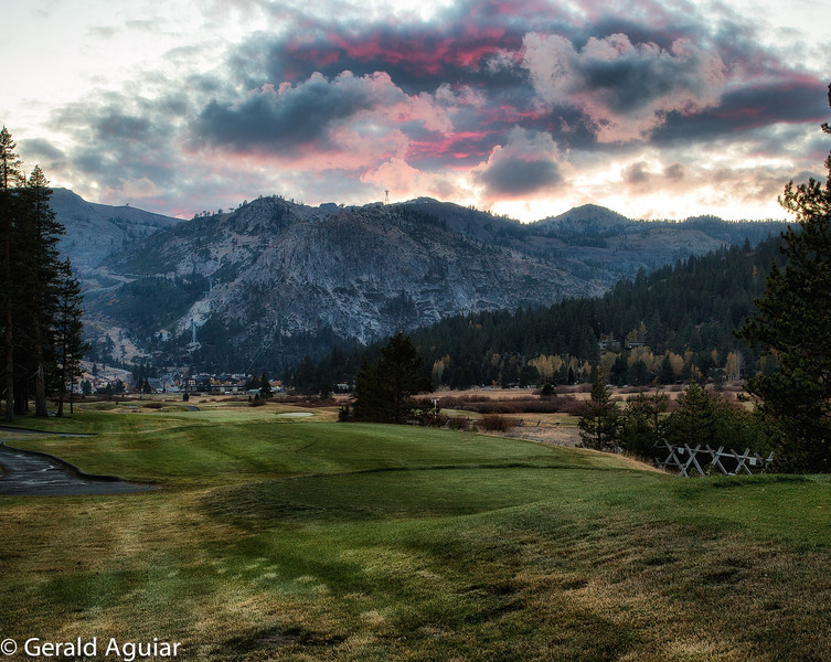Sunset on the golf course at Squaw Valley.
