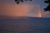 A heavy thunderstorm blew across Lake Tahoe in the late afternoon leaving some wonderful light flowing over the summit of the Sierra and below the cloud deck. I have never seen a brighter rainbow.