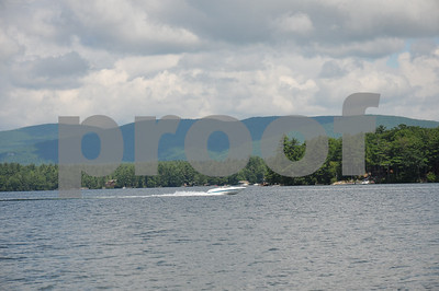 Fast boat on Lake Winnipesaukee