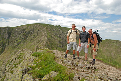 On Striding edge with the summit of Helvellyn behind us.