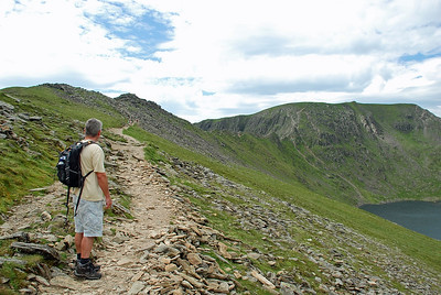 On the path as we approach Striding edge and onto the Helvellyn summit plateau.