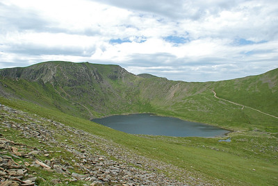 Red tarn sitting below Helvellyn.