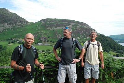 Derek,Gordon and Graham at start of walk up to Striding edge on Helvellyn.