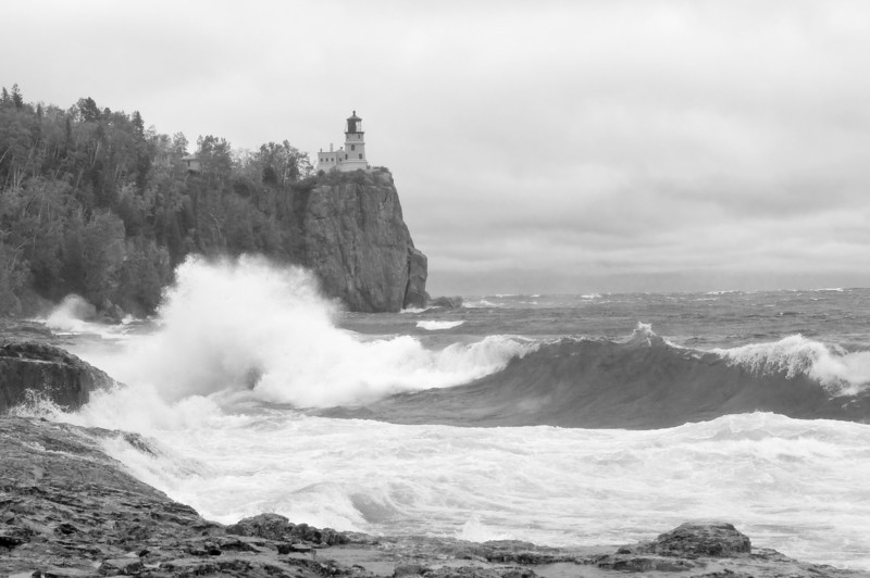 MNLR-9155: Stormy lake at Split Rock Lighthouse State Park (converted to Black and White)