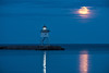 Grand Marais Light and full moon