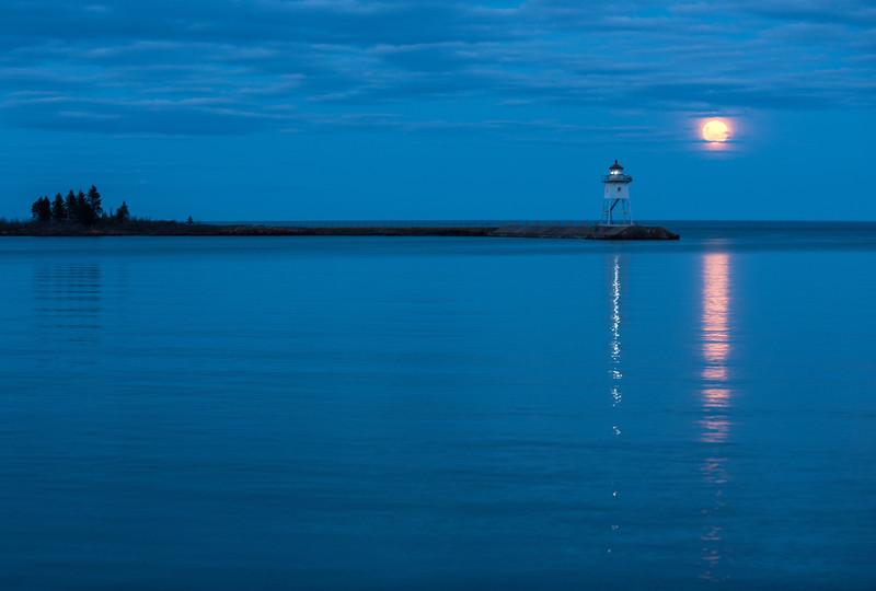 Grand Marais Harbor and full moon
