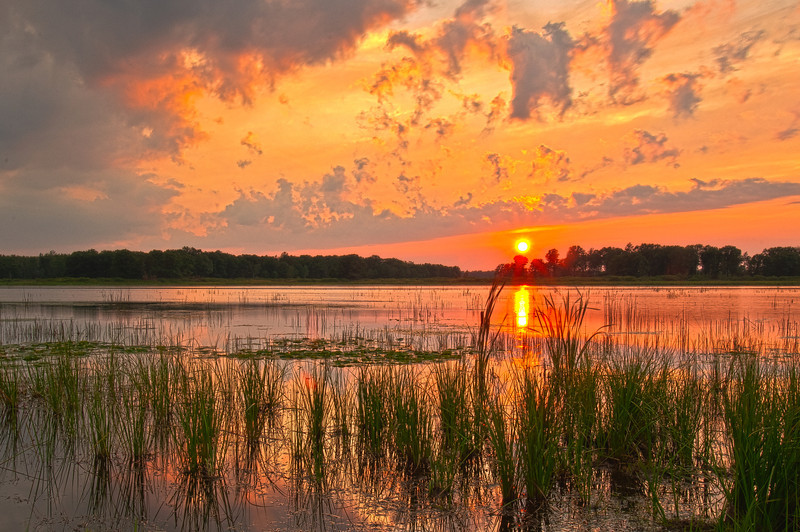 MNLR-11239: Sunset at Crex Meadows <i>(This is an HDR image merged togethor from 4 images.</i>