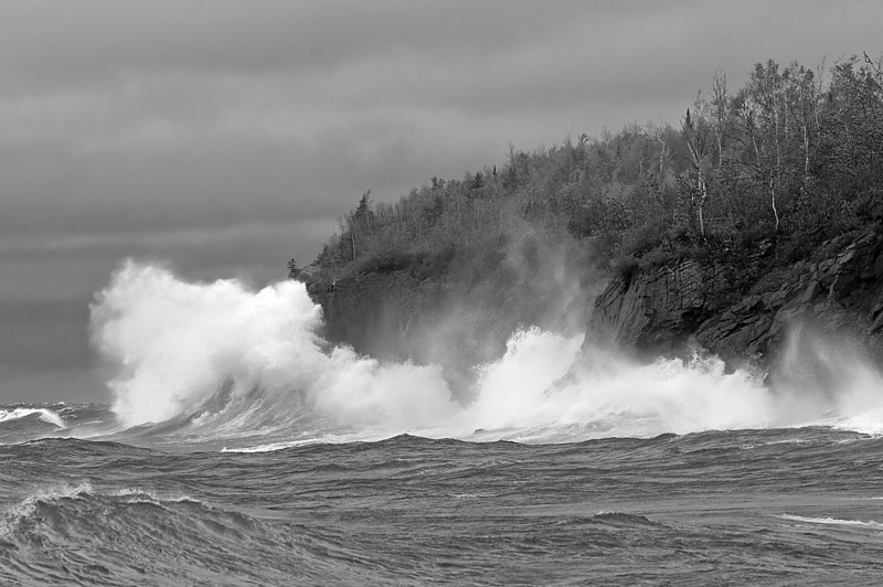 MNLR-9132-High winds on Lake Superior (converted to Black and White)