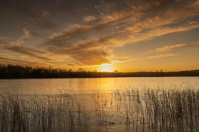 Prairie lake sunset