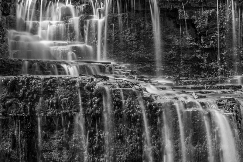Hidden Falls in Black and White