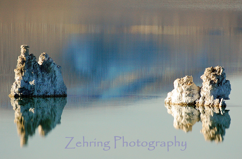 """Tufa Towers"" reflecting along the shores of Mono Lake actually form underwater, and only became exposed after the water level fell drastically as a result of water diversion from the lake that began back in 1941."