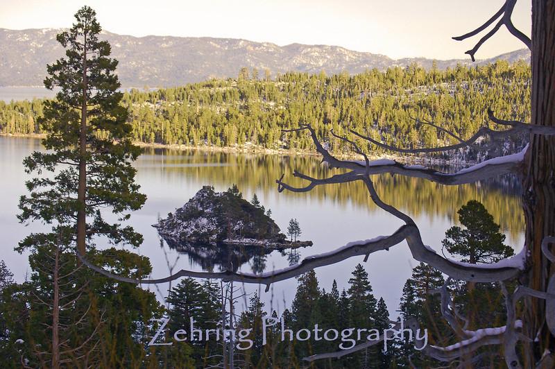 Winter overlook of Emerald Bay, Lake Tahoe, CA.