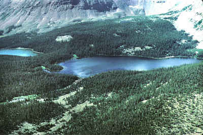 Unidentified Uinta Mountains lake shot from aerial fish stocking airplane