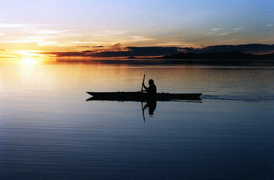 Kayaking on the Great Salt Lake at sunset.  Photo taken 11-18-08 by Phil Douglass, Utah Division of Wildlife Resources.