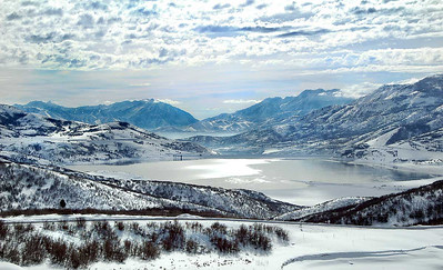 Utah's Jordanelle Reservoir in winter with the Wasatch Mountains in the background. Photo by Cory Maylett