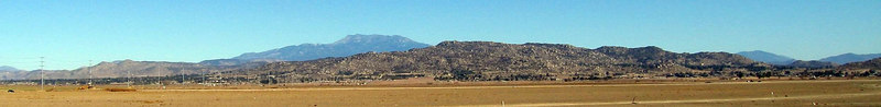 Lakeview Mountains from the west. Mt. Rudolph is on the far left.  Mt. San Jacinto is in the background. 4 Feb 2007