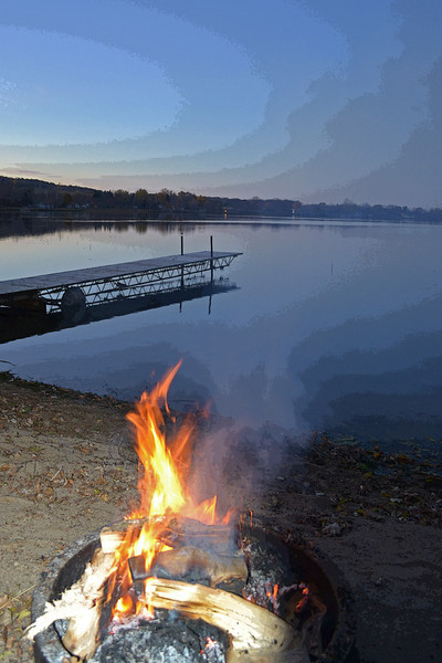 Bonfire at the Lake - This photo would make a great invitation to a lake party or art on a cabin wall.  Taken at a friends home on Grand Lake near Rockville, MN.