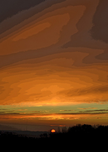 Stylized Orange Sunset - Another sunset photo taken from my backyard in central Minnesota.