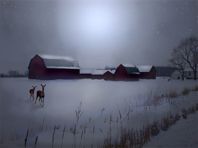 a snowy ,moonlit field with a doe and fawn