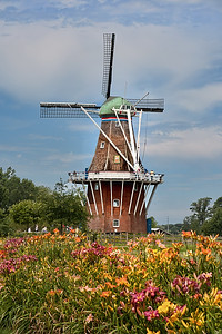 a Dutch windmill used for grinding grain into flour