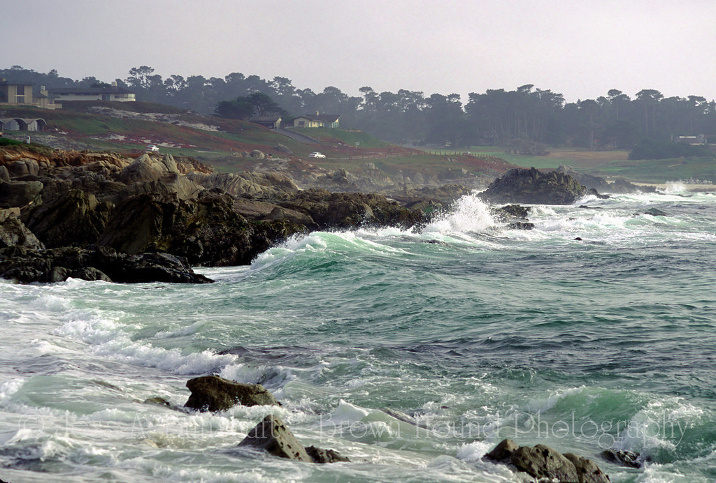 Waves break on the rocks along the 17 Mile Drive, Pebble Beach, California