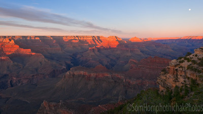 South rim Grand Canyond, Yaki Point at sunset