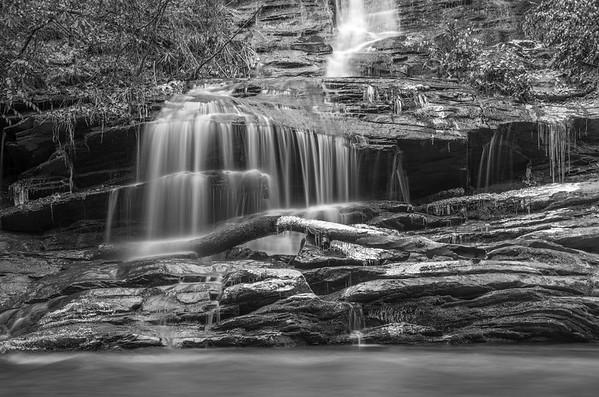 Lower Tom's Branch Falls (b&w)