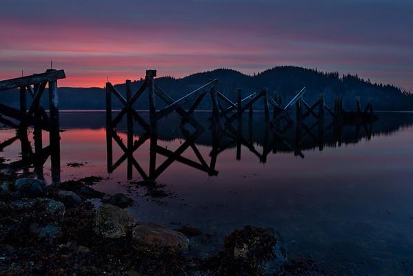 Coal Harbour, British Columbia at sunrise.