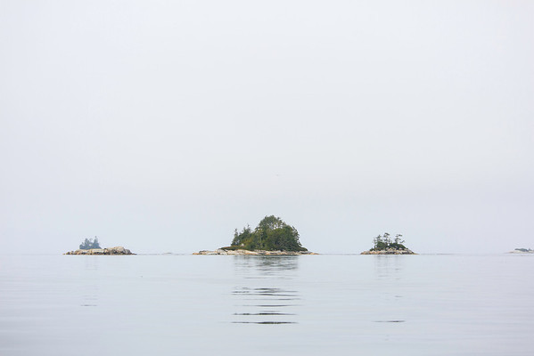 Small islands on a foggy day
