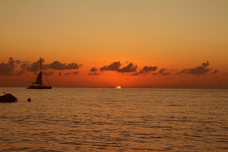 Sailboat at sunset Cayman Islands 12-27-11.