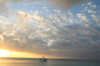 1-10-12 Boat at sunset Grand Cayman Island.