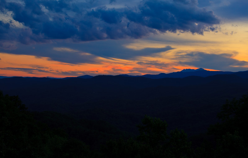Sunset from our deck at Idle Spur Cabin in the Leatherwood Mountain Resort