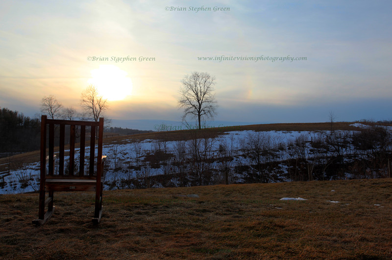 """Hazy Winter Sunset on the Farm"""