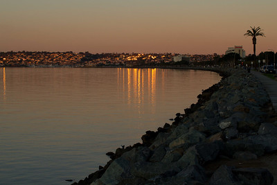 20120113-IMG_0860 San Diego Bay from Harbor Island, looking west to the West end of Harbor Island, Shelter Island and Point Loma at Sunrise in winter.