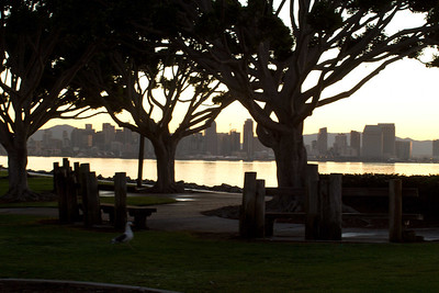 20120113-IMG_0857 Harbor Island park view of San Diego Bay and downtown immediately before the sun rises above the mountains to the southeast of downtown on a winter morning.