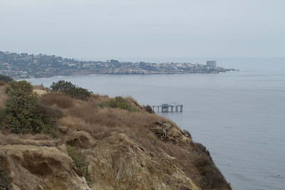 Downtown La Jolla in the distance and Scripps Pier, seen from La Jolla Farms