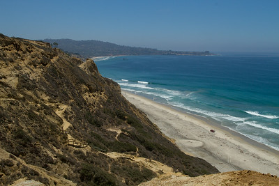 La Jolla in the distance, Scripps Pier and Blacks Beach.  Torrey Pines Glider Port view 7/07/2014