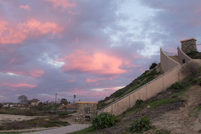 Sea Bluff stairs at sunset, looking east away from the Pacific; Leucadia, CA 1/31/2015