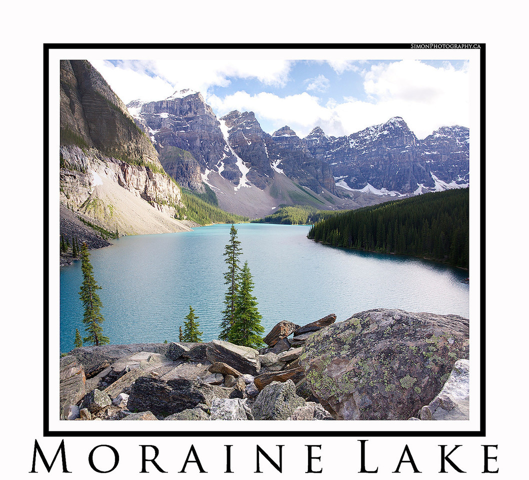 Moraine Lake, the jewel of the Canadian rockies, in Lake Louise, Ab.