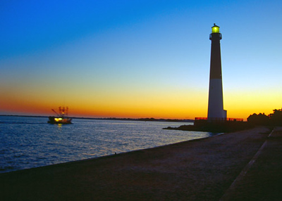 Historic Barnaget Lighthouse at Sunrise.