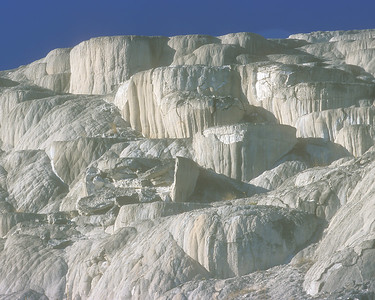 Mammoth hot springs travertine rocks in Yellowstone early light