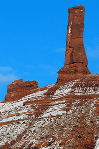 Our national colors as only Moab can show them!  Photo of Chimney Rock taken 1-11-08 by Phil Douglass, Utah Division of Wildlife Resources.
