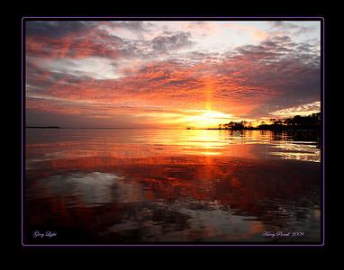 Mirror sunset, 11-28-09, Gulf Breeze, FL.