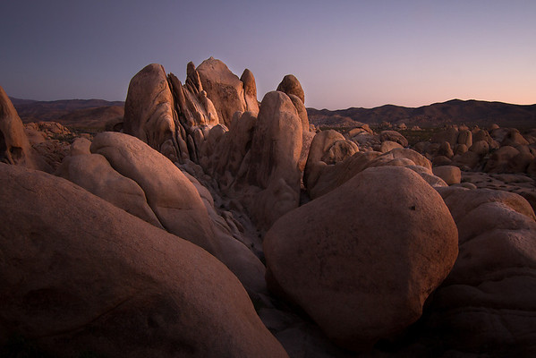 The last light of sunset makes the molten rocks of Joshua Tree glow in the evening light.