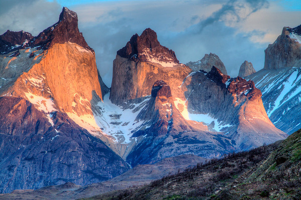 Los Cuernos (the horns) a part of the Torre del Paine national park in Chile