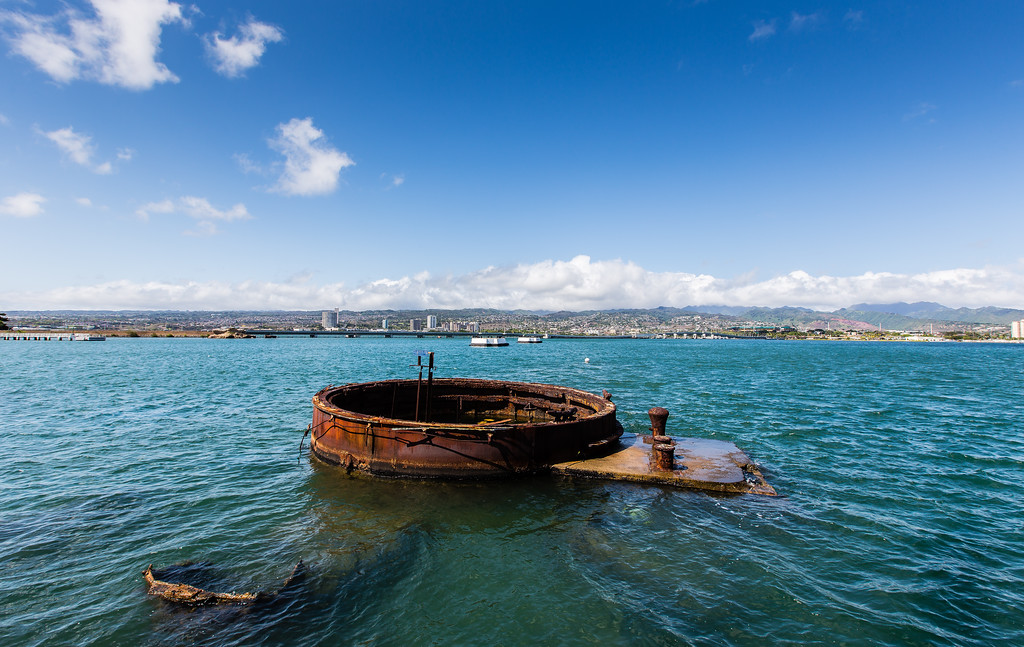 Pearl Harbor; parts of the USS Arizona.