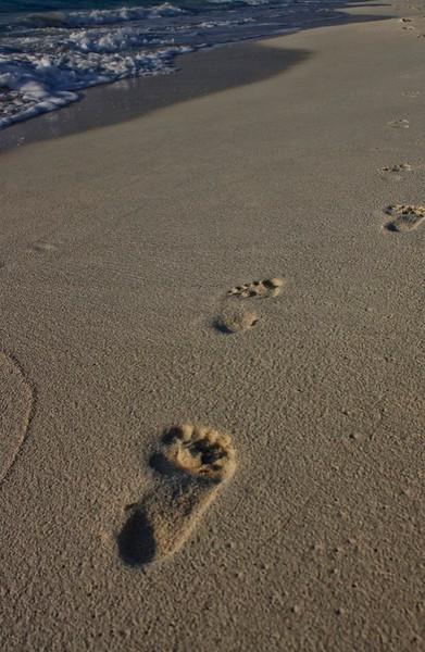 Sunrise walk down the beach Cancun Mexico.
