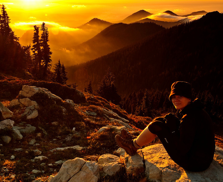 """This is my wife contemplating an amazing sunset from top of Spray Park at Mount Rainier National Park.  This was her first ever overnight hike and was a success, so next summer will do a few of these :-)  The other reason this was a success is because I just learned this photo won second place in this year's Washington Trails Association (WTA) 2009 Photo contest, Northwest Exposure 2009 """"Hikers in action"""" category. It was a nice surprise on the mail as they didn't send an e-mail to notify. I got a pretty cool book to enjoy more our hikes, a 6 month suscription to """"picknic"""" and my photo was published in WTA's physical bimonthly magazine. This is my wife contemplating an amazing sunset from top of Spray Park at Mount Rainier National Park.  update: WTA has their own flickr stream and they also posted my photo, here <a href=""""http://www.flickr.com/photos/29468641@N04/4015472309/in/set-72157623014404562/"""">www.flickr.com/photos/29468641@N04/4015472309/in/set-7215...</a>"""